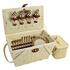 Enjoy a romantic double date picnic with this lovley picnic basket, set for four people. Or drink enough wine for four people.