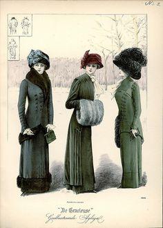 Edwardian fashion illustration, plate from Dutch magazine De Gracieuse 1910