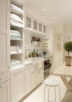 Laundry Room - Idea! Extra Storage for Linens... Blankets... Household Basic Tool Set... Vacuum... Sink... Folding Table... Etc!