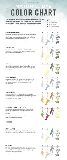 Natural Dye Color Chart.