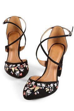Embroidered Black Heels.
