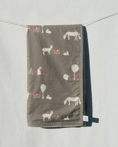 Organic Baby Blanket - Organic Cotton Flannel and Grey Woodland Print