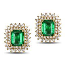 Orion Boucles d'oreilles Emeraude et Diamant