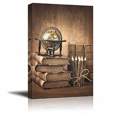 Canvas Wall Art  Vintage Style Stack of Books and Globe on Wooden Table  Modern Home Decor Canvas Prints Gallery Wrap Giclee Printing  Ready to Hang  24 x 36 >>> You can get more details by clicking on the image.Note:It is affiliate link to Amazon. #PosterPrint