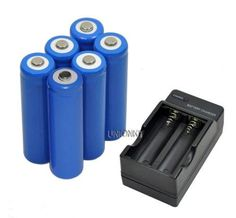New 6 piece camera 14500 ICR14500 lithium AA Rechargeable Battery with charger For LED Torch