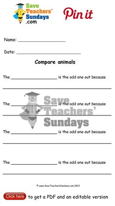 Year 1 Lesson 10 comparing animals worksheets, lesson plans and other primary teaching resources Save Teachers Sundays, The Odd Ones Out, Animal Worksheets, Year 2, How To Get, How To Plan, Teaching Resources, Lesson Plans, Names