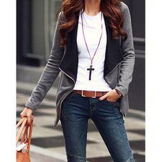 Trendy Turn-Down Collar Long Sleeve Zippered Coat For Women