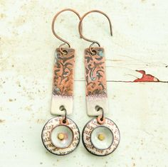 These earrings by Laura Guenther are adorned with words using decals on torch-fired enamel pieces. | Belle Armoire Jewelry Autumn 2015