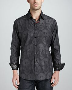 Bitterline Skull-Print Sport Shirt, Black by Robert Graham at Neiman Marcus.