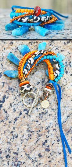 Bermuda Bracelet: Exotic Tribal Orange Glass, African Bone and Blue Agate Fringe Bracelet $195