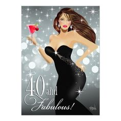 Diva Glam Bombshell 40th Birthday | silver Personalized Invite