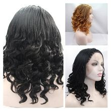 New Arrived African American Braiding Hair Synthetic Micro Braided Wigs For Black Women Lace Front Wig Heat Resistant Fiber China Mainland