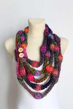 This item is perfect as a necklace as well as a chunky scarf which keeps you warm during Winter time. It is available on Etsy www.locotrends.etsy.com #scarf #scarves #accessories #women #fashion #handmade