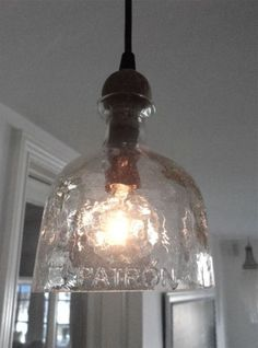 Patron Bottle Hanging Light (pendant) pretty cool for when we do patio cover! Patron Bottle Crafts, Liquor Bottle Crafts, Patron Bottles, Tequila Bottles, Alcohol Bottles, Diy Pendant Light, Pendant Lighting, Home Design, Liquor Bottle Lights