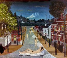 """Spring"""" by Belgian artist Paul Delvaux Paul Delvaux, Art Database, Les Oeuvres, Mystery, Fine Art, Canvas, World, Spring, Paintings"""