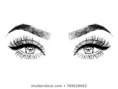 Image vectorielle de stock de Profil Dune Belle Femme Aux Cheveux 569097715 - Hand-drawn woman's luxurious eyes with perfectly shaped eyebrows and full lashes - Straight Eyebrows, Thin Eyebrows, How To Grow Eyebrows, Eyebrows On Fleek, Perfect Eyes, Perfect Eyebrows, Makeup Art, Eye Makeup, Makeup Eyebrows