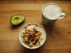 Oatmeal is my main obsession... oatmeal with flax, apples, slmonds, almond butter, maple syrup, cinnamon, and soy milk, avocado with salt and pepper, and coffee with soy milk