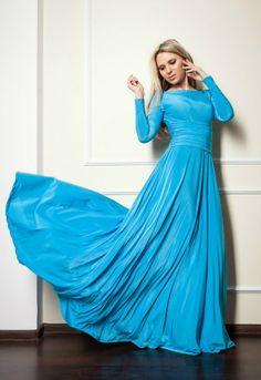 Modest Blue Maxi Dress