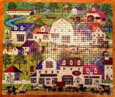 Charles Wysocki Mosaic Jigsaw Puzzle Shops & Buggies Complete 4290-6 #MiltonBradley