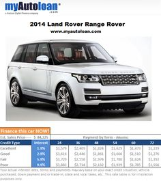 The 2014 Range Rover looks nice, but would look even better in your garage. Finance it now at www.myautoloan.com
