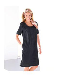 Anna Aura Kleid 1/2-Arm in reinem Leinen  schwarz