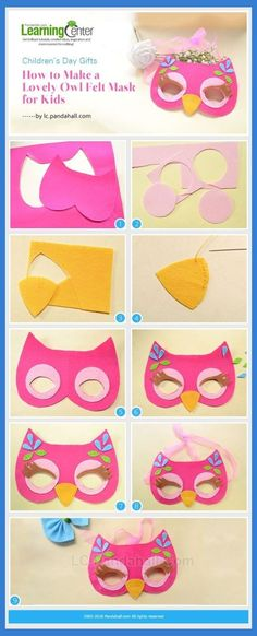 Children's Day Gifts-How to Make a Lovely Owl Felt Mask for Kids from LC. - mask making Diy And Crafts, Craft Projects, Sewing Projects, Crafts For Kids, Arts And Crafts, Sewing Crafts, Children's Day Gift, Owl Mask, Felt Owls