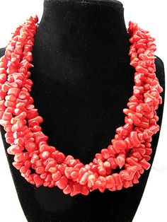 Multiple Stranded Coral Statement Necklace on Etsy, $27.50