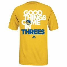 Golden State Warriors adidas Good Things Come In Threes Tee - Gold