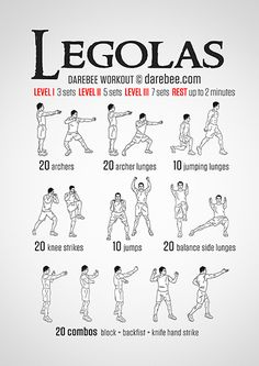 Legolas Workout from darebee.com - lots of nerd themed workouts!