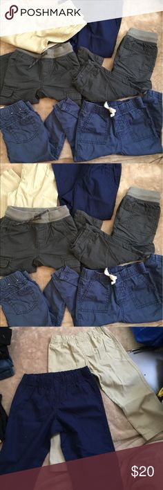 Baby/ toddler Boy Pants Bundle!! Bundle of never worn/ gently worn baby boy clothes! Top row ---> 24 months carters light dress pants , brand new never worn . One is navy blue & one is tan/ khaki color!     Second row ---> cat & jack skinny cotton lined pants. Both are size 18 months, never worn just sat in draw .      Third row --> cat& jack navy or royal blue skinny drawstring pants. Both are size 18 months! Gently used, washed twice ! Open to offers!!! Carter's Bottoms Casual