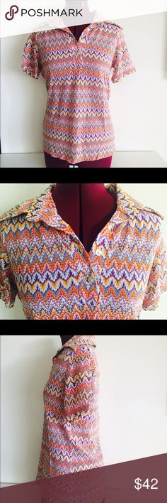 70s Top Blouse Zig Zag Pattern Print Size S M 70s zigzag patterned collared top.   Material: nylon Maker: Ginsport Era:  70's Size: S M  Condition: good vintage, no rips or stains Vintage Tops Blouses