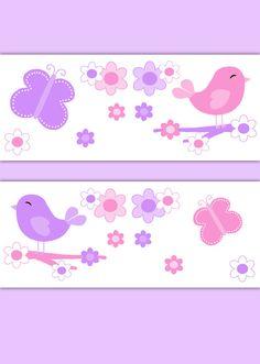 Good BUTTERFLY CHICKADEE BIRD Wallpaper Border Decal Por Decampstudios
