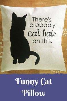So Funny! Cat Pillow Cover, Throw Pillow Cover, Cat Hair Pillow Cover, Funny Cat Quote Pillow Cover, There's Probably Cat Hair on This Pillow Cover JayCatdesigns on Etsy