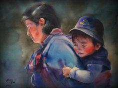 Peruvian artist, Peruvian Painter, Paintings, Watercolor, childhood paintings, Portrait Paintings, Rogger Oncoy