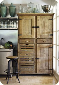 Stunning old school wooden freestanding cabinet. So want one!