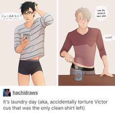 Victor loves it when Yuri runs out of clothes >> Victor's 'oh shit I got a boner' face ;)