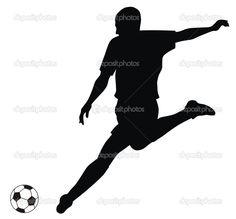 abstract vectorillustratie van voetbal speler silhouet - Stockillustratie: 4170454