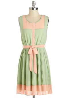 Urban Garden Party Dress in Sage - Short, Green, Pink, Buttons, Pleats, Belted, Casual, A-line, Sleeveless, Pastel, Colorblocking, Spring, Scoop, Variation