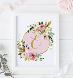 Monogram Print-Custom Name Initial Print-Pink Gold Girl Nursery Prints-Floral Print-Gold Foil-Pink N Nursery Paintings, Nursery Prints, Nursery Themes, Nursery Decor, Gold Girl, Pink And Gold, Girl Nursery, Nursery Room, Baby Room