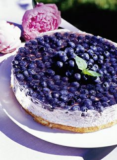 Kevyt mustikka-jogurttikakku (in Finnish only) - blueberry yoghurt cake Finland Food, Cake Recipes, Dessert Recipes, Delicious Desserts, Yummy Food, Scandinavian Food, Sweet Pastries, Sweet And Salty, Cheesecakes