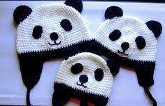 Panda crochet beanie