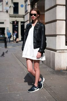 leather jacket and white dress
