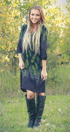 Cute printed 3/4 sleeve dress