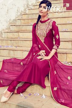 Rupali collection, Churidar cotton long suits, Dark Pink  embroidered costume now in shop. Andaaz Fashion brings latest designer ethnic wear collection in UK   http://www.andaazfashion.co.uk/salwar-kameez/churidar-suits/dark-pink-cotton-and-satin-churidar-suit-with-dupatta-dmv14158.html