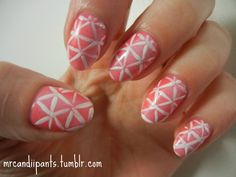 Hot pink is the base color, with a super light sponging of white polish to wash out the color a bit.