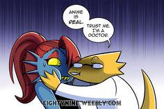 Anime is Real - Undyne x Alphys by LexyMako Undertale Memes, Undertale Ships, Undertale Drawings, Undertale Comic, Alphys X Undyne, Doctor Who, Toby Fox, Screwed Up, Bad Timing