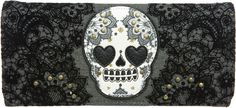 LOUNGEFLY SKULL W/LACE WALLET - Accessories - Gals    $30