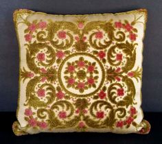 Vintage Velvet Tapestry Pillow Toss Throw Accent Green Pink Italian Embroidery  #Romanticism