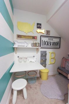 Under stairs closet turned homework station. Love the smart use of this beautiful space!