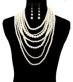 PEARL LAYERED NECKLACE AND EARRING SET ONLY $15.88